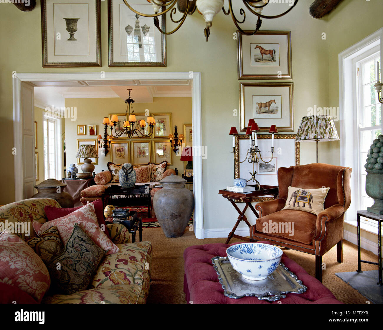 beyond furniture. Traditional Yellow Sitting Room Upholstered Armchair Ottoman Sofa View Through Doorway To Beyond Interiors Rooms Period Features Furniture Antiqu C