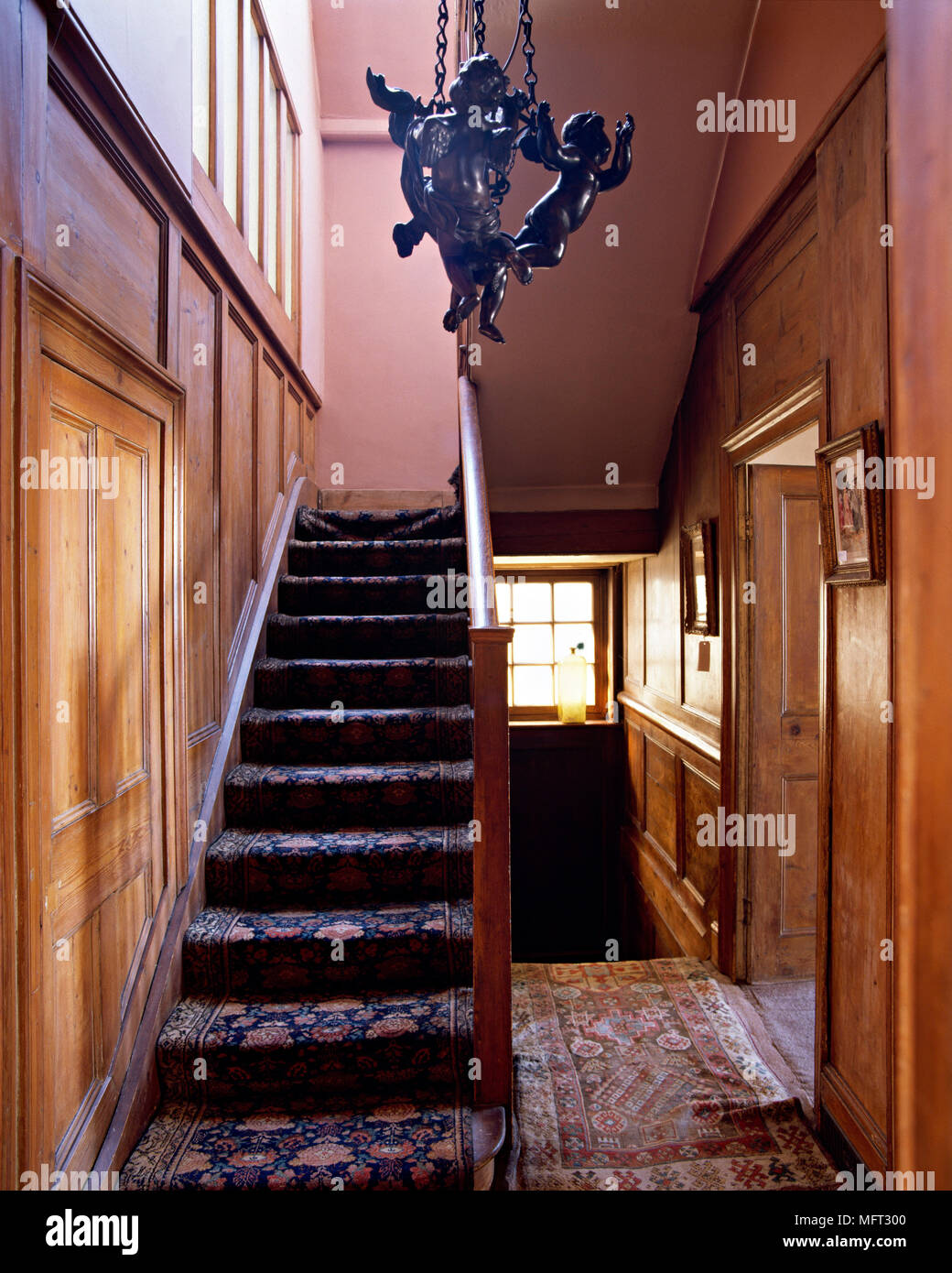Traditional Hallway Wood Panelling Staircase Carpet Rug Interiors