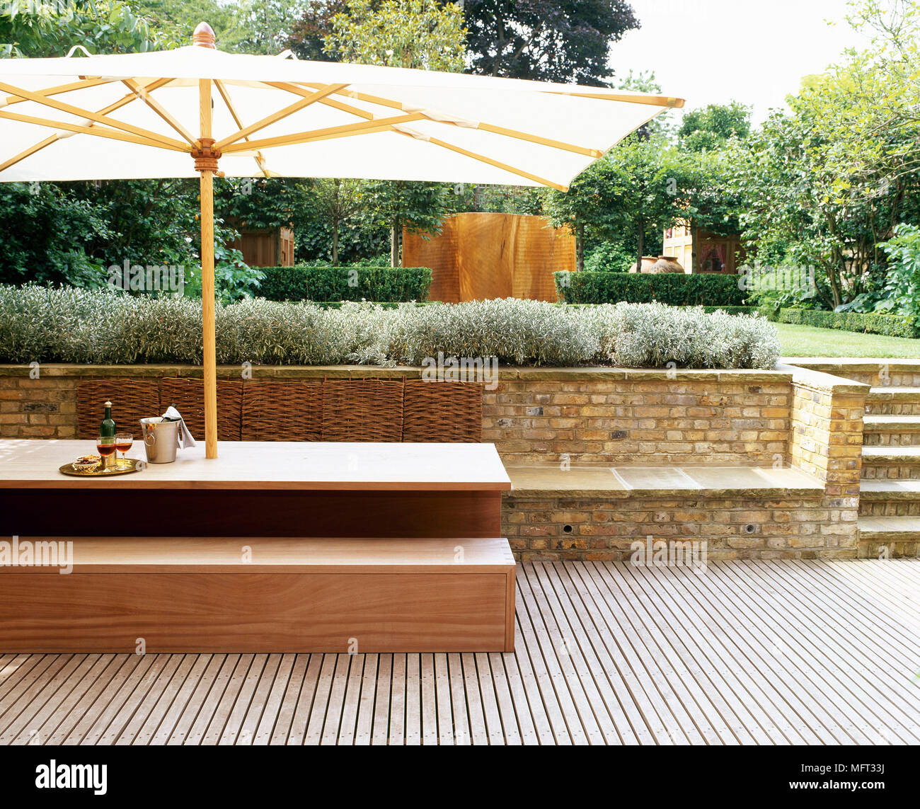 Picture of: Patio Terrace Wooden Decking Table Bench Seat Parasol Terraces Patios Outside Outdoors Furniture Modern Stock Photo Alamy
