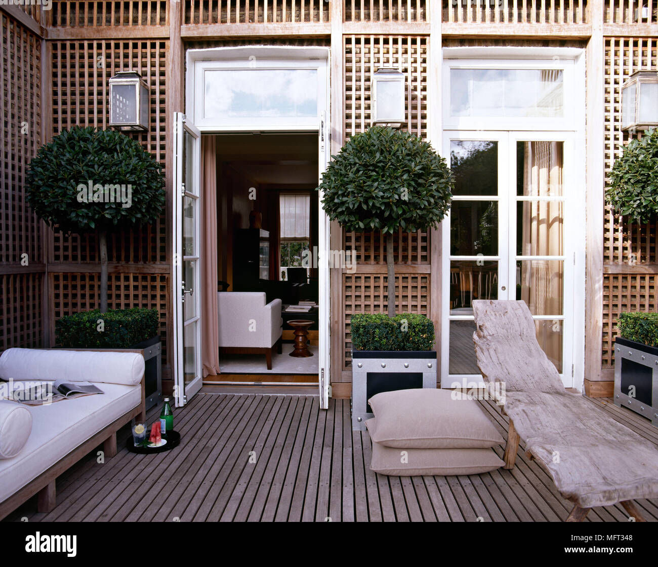 Outdoor Patio Terrace Wooden Decking Trellis Lounger Bay Trees Terraces  Patios Outside Outdoors Furniture Modern Planters