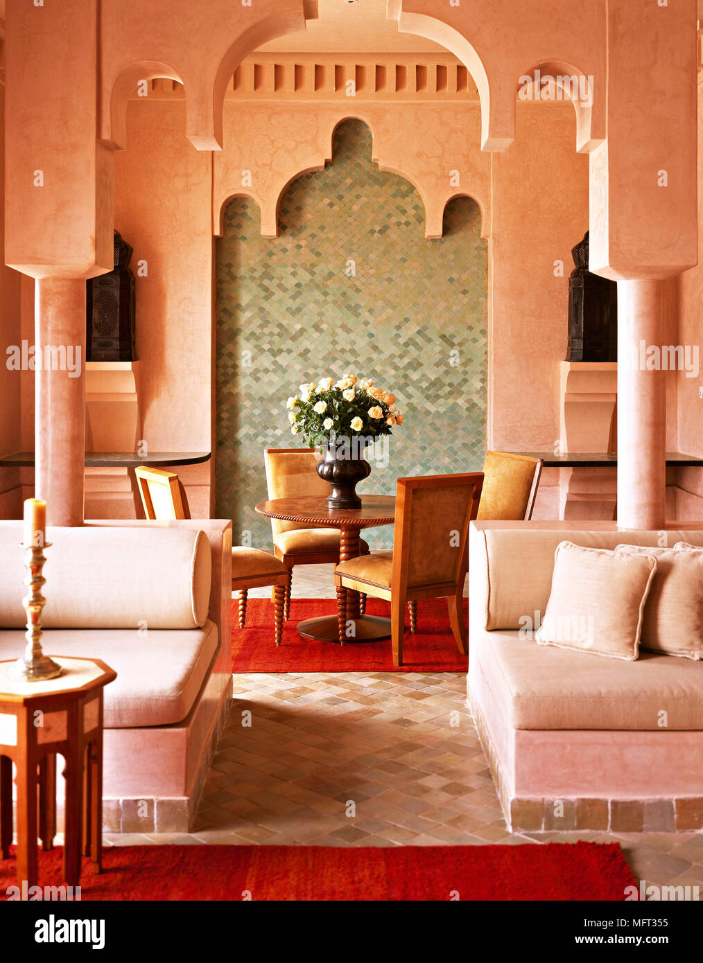 Moroccan Terracotta Sitting Room Dining Area High Arched Ceiling Seating Areas Interiors Rooms Ethnic Influence Warm Colours Arabian Moorish Archirec Stock Photo Alamy