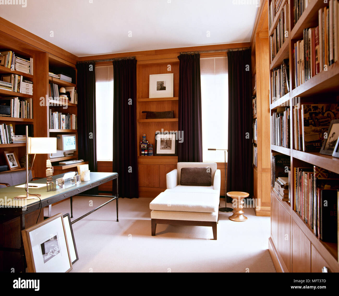 Modern study library room book shelves desk daybed Interiors ...