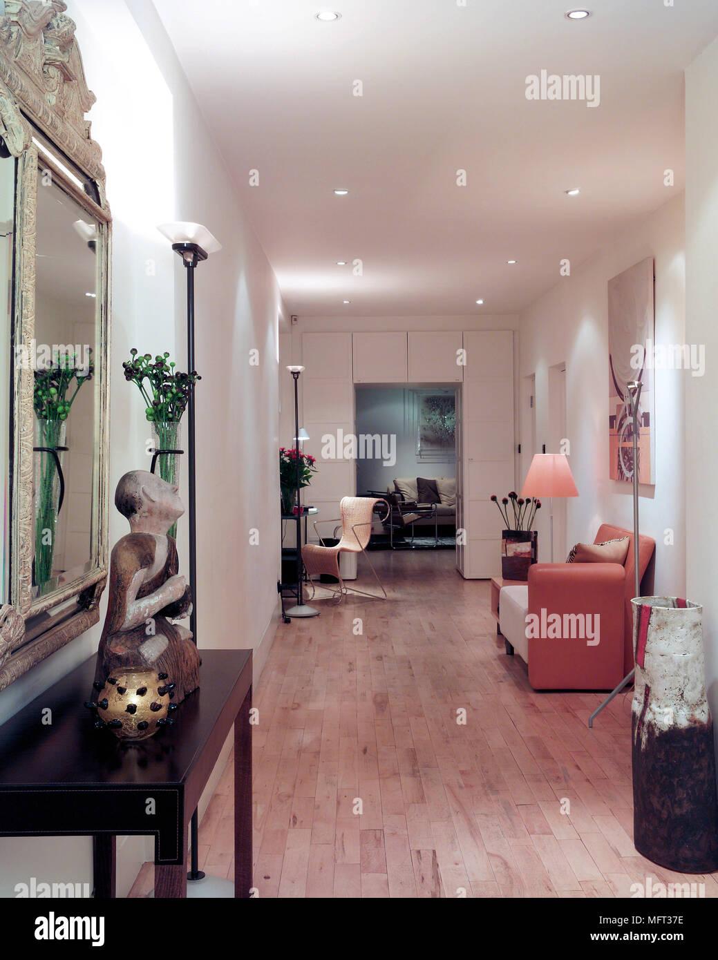 Modern spacious hallway wood floor side table Interiors rooms ...