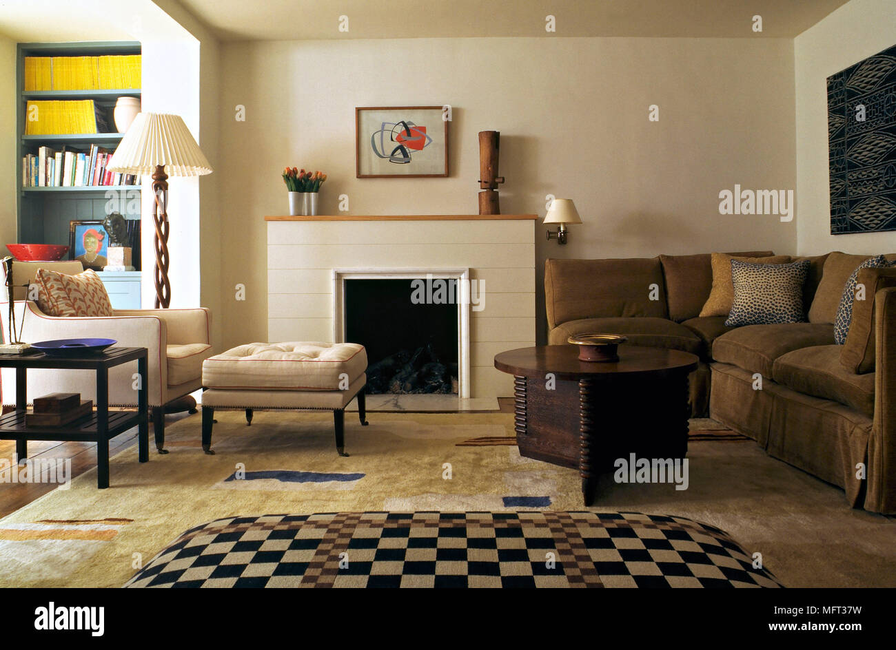 Modern sitting room fireplace upholstered ottoman corner sofa ...