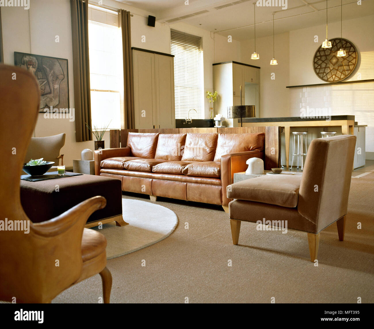 Modern Open Plan Sitting Room Brown Leather Armchairs Sofa