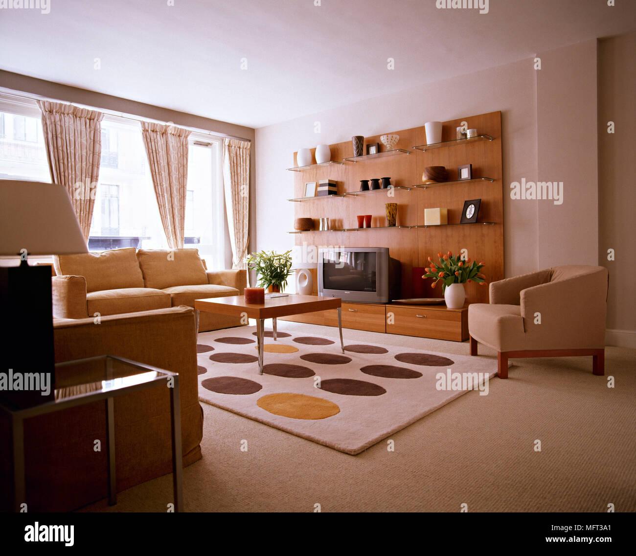 Modern Neutral Sitting Room Sofa Wood Display Unit