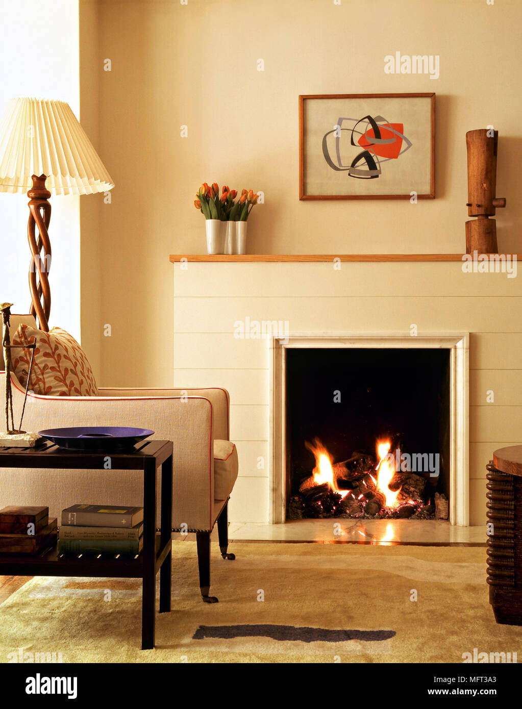 Modern neutral sitting room fireplace open fire upholstered armchair side table standard l& Interiors rooms fireplaces retro furniture lit fires & Modern neutral sitting room fireplace open fire upholstered armchair ...