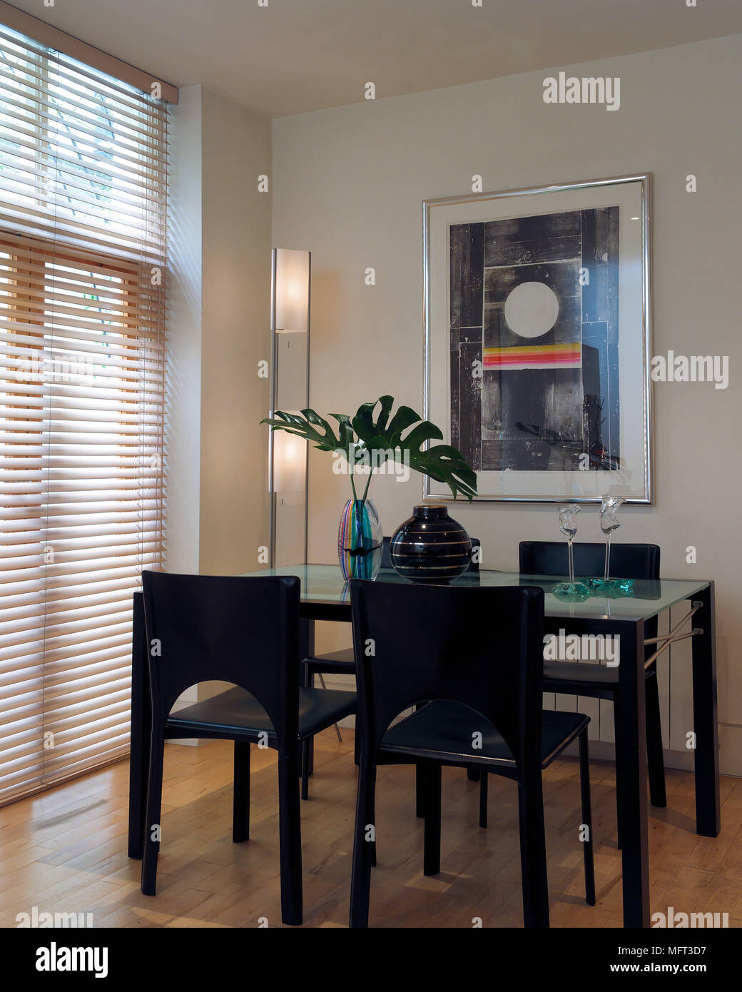 Modern Dining Room Black Wood And Glass Table Chairs Venetian Blinds  Interiors Rooms Window Treatments