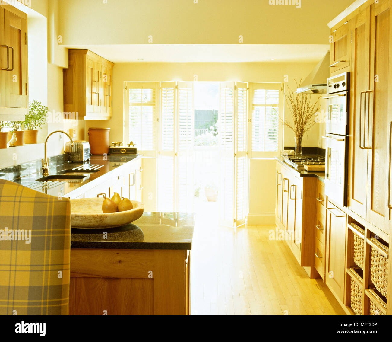 country style kitchen lighting. Modern Country Style Kitchen Wood Units Interiors Kitchens Light Sunny; - Stock Image Lighting