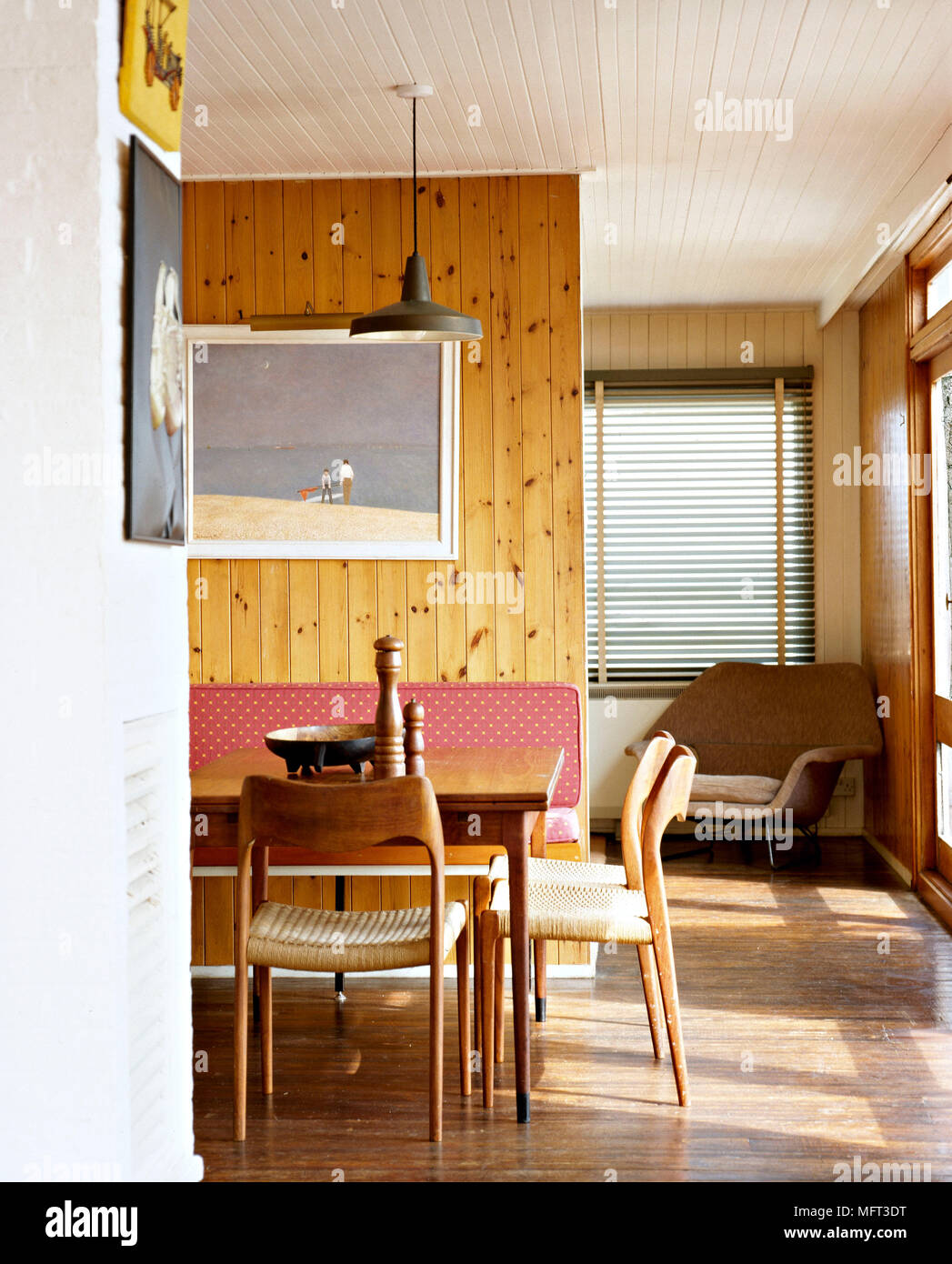 Modern country dining room detail tongue and groove wood panelling ...