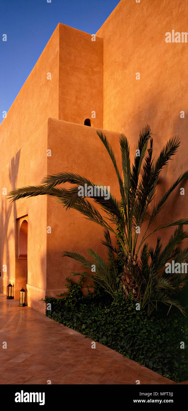 Exterior Moroccan House Palm Trees Exteriors Architecture Modern Stock Photo Alamy