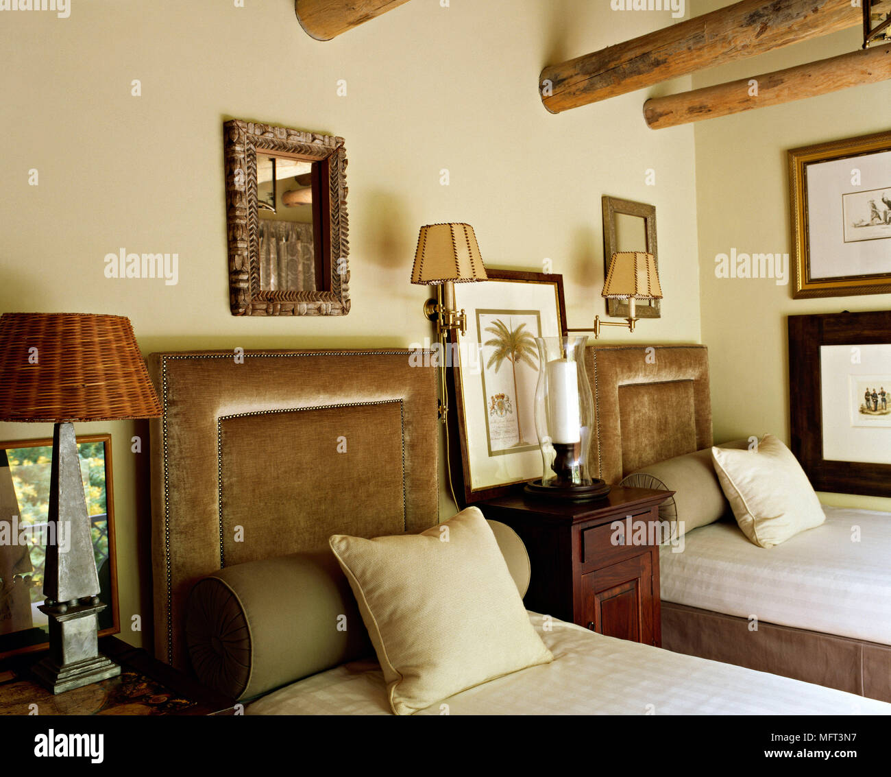 Country Bedroom Twin Single Beds Upholstered Velvet Headboards Bolsters Lamps Interiors Bedrooms Traditional Beds Soft Furnishing Natural Materials Stock Photo Alamy