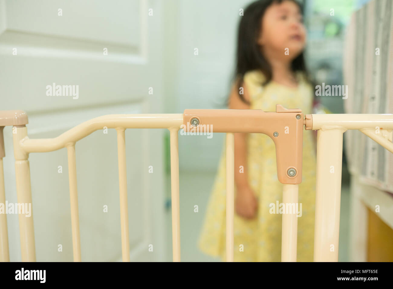 Close Up Safety Gate On Door And Little Girl Crying Baby Protect Fence Stair Gate Stock Photo Alamy