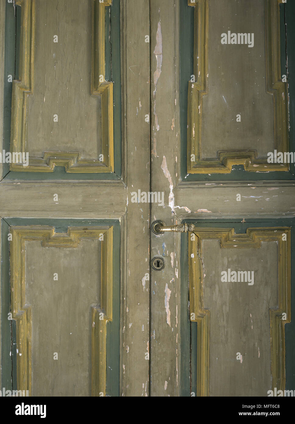 Detail Of Distressed Painted Cupboard Doors Stock Photo 181855416