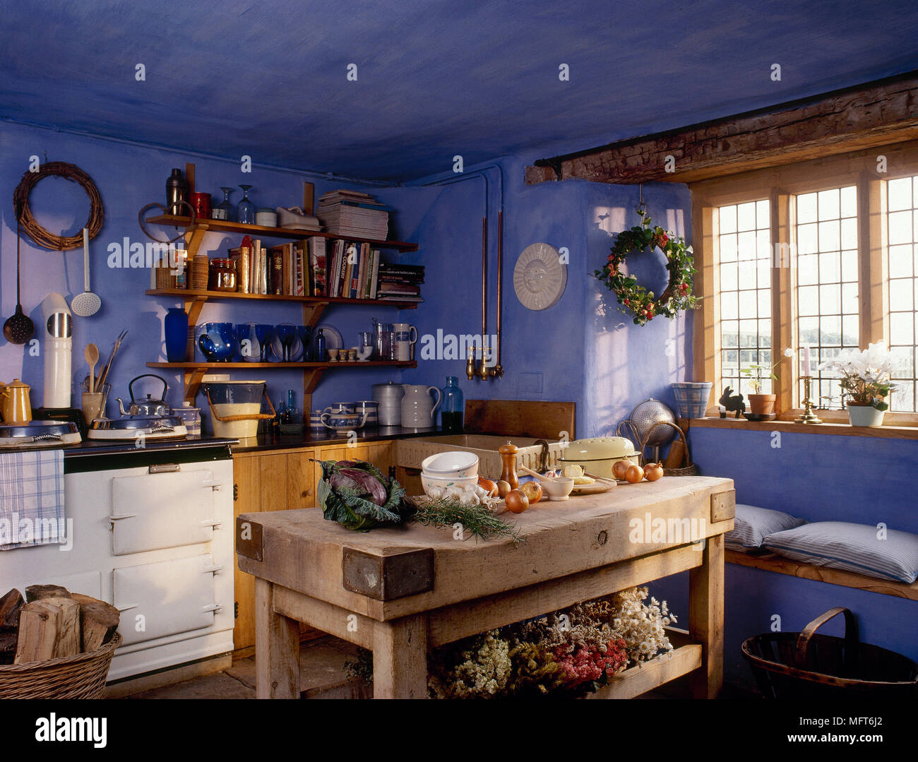 Blue Country Kitchen With Butcher Block Worktable, Beamed ...