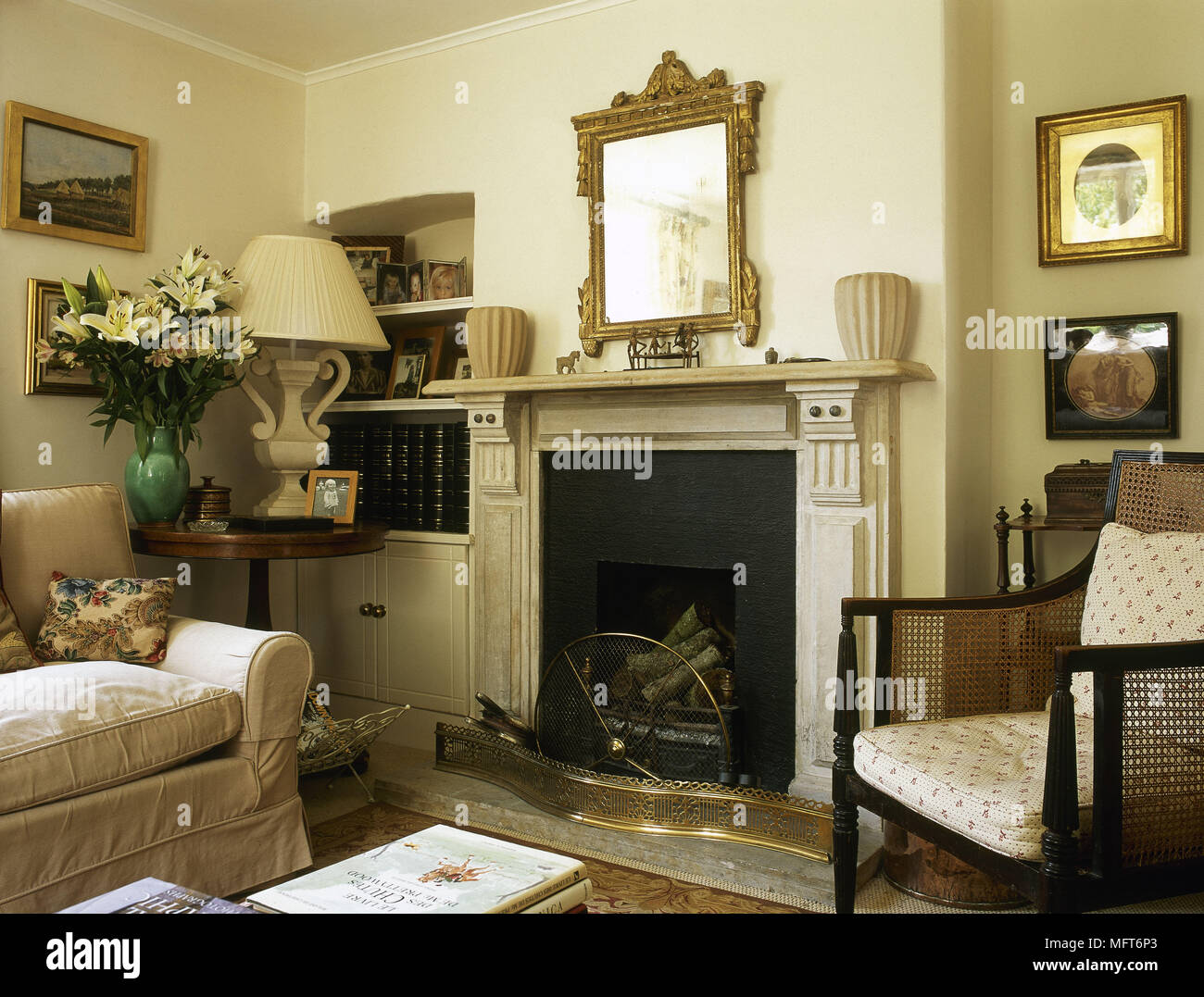 Traditional Country Sitting Room Fireplace Sofa Cane Armchair Gilt Mirror Interiors  Rooms Fireplaces