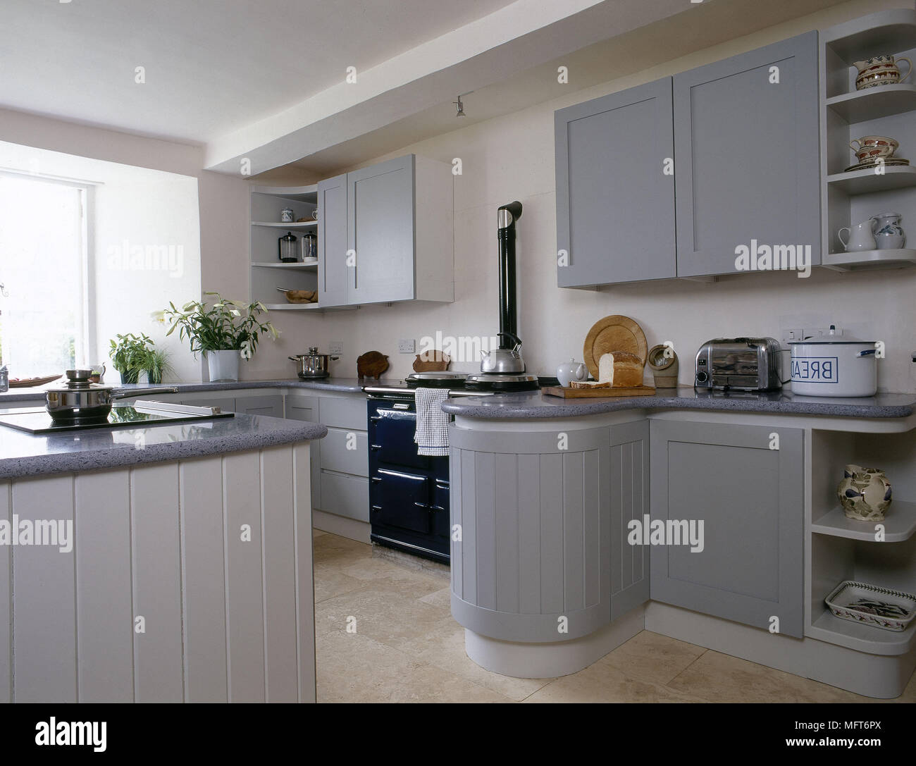 Modern country style kitchen painted units granite worktop aga ...