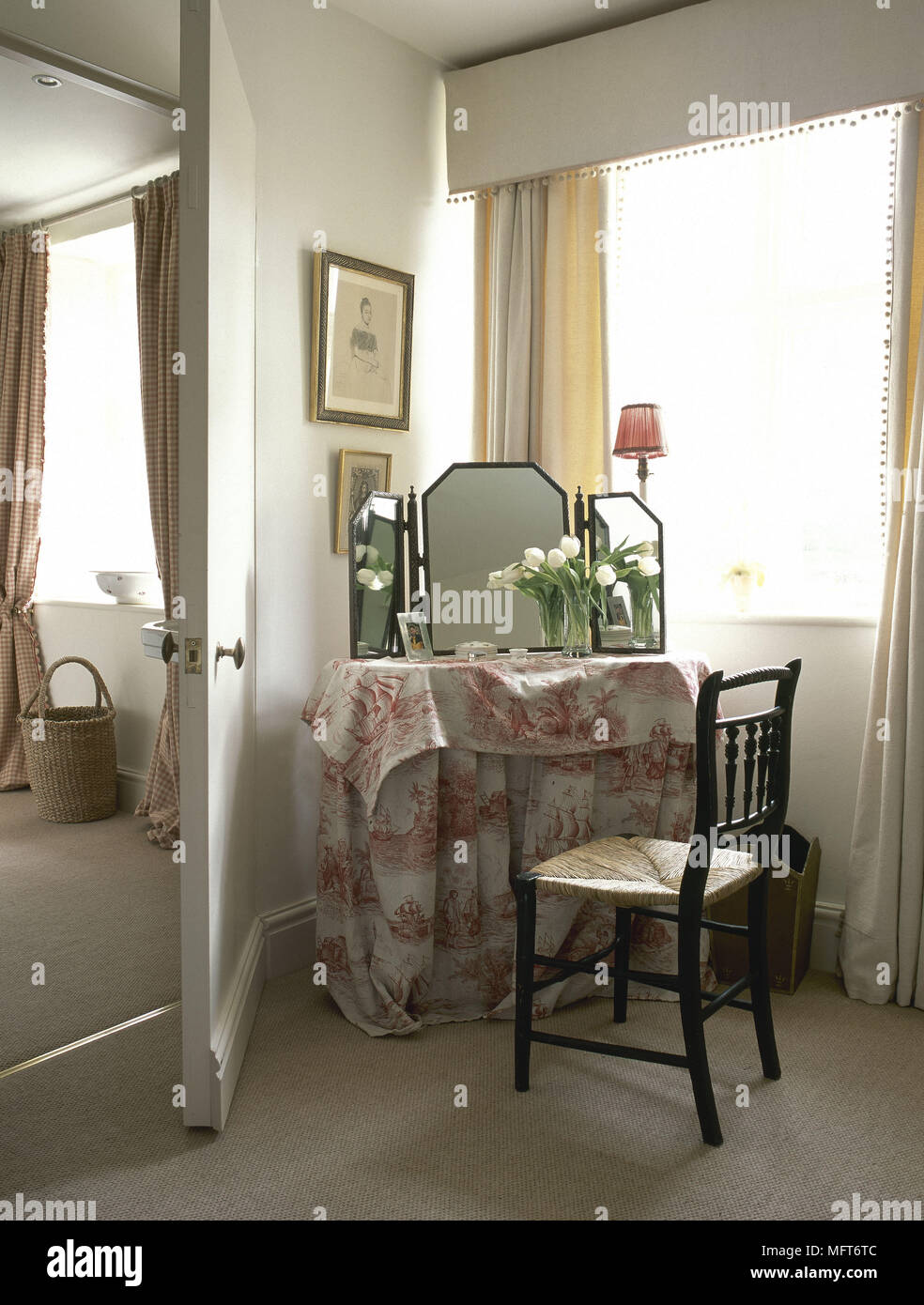 Bedroom Detail With Dressing Table Covered In Red Toile De Jouy Fabric