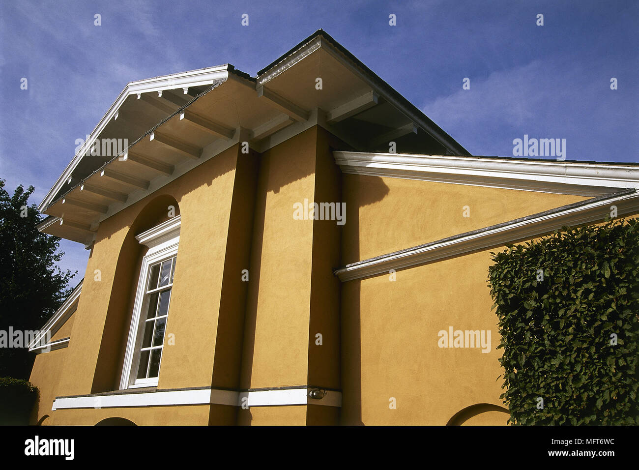 Exterior grand country house  exteriors houses detail classical style pediment - Stock Image
