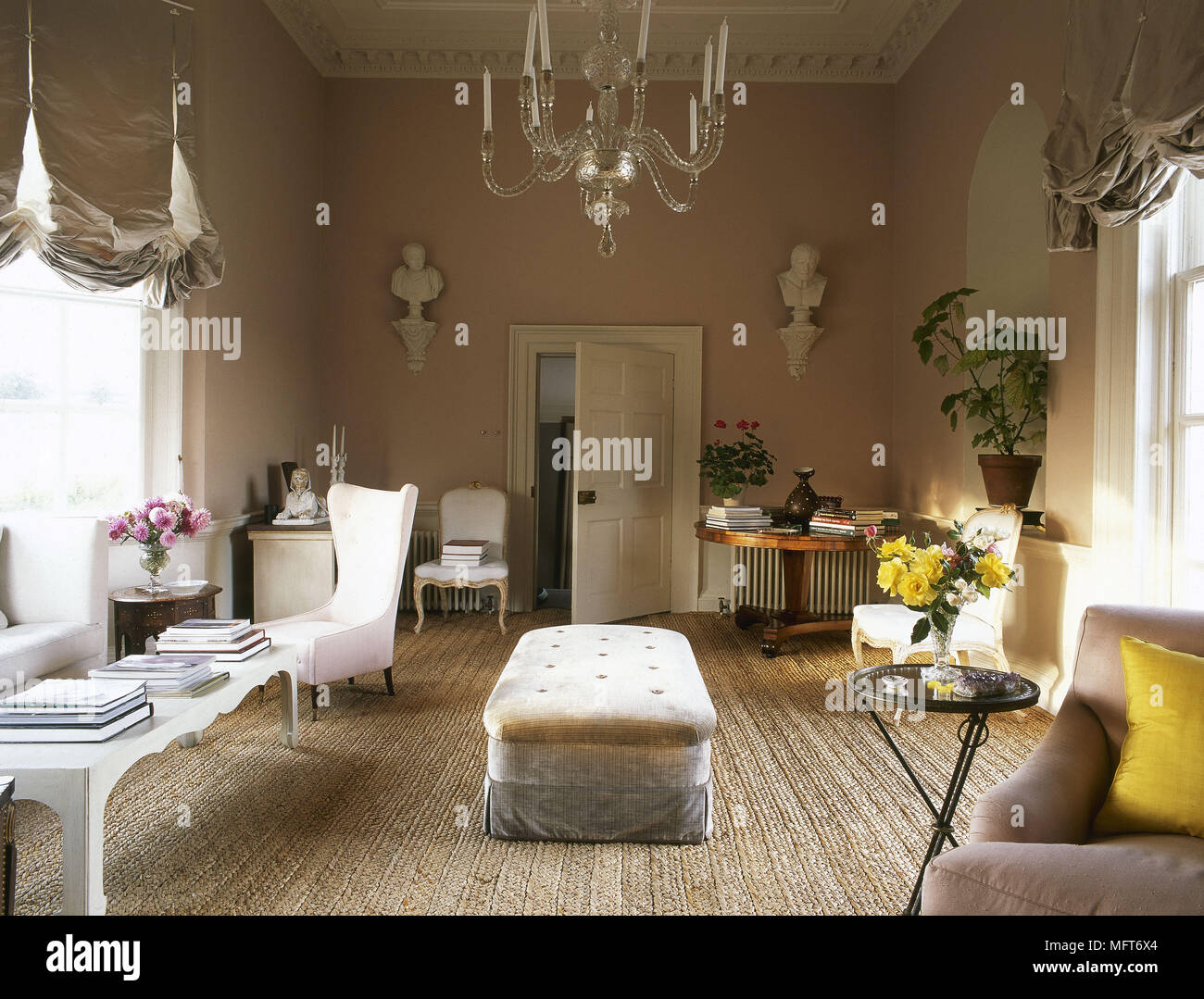 Traditional Peach Sitting Room Chandelier Austrian Blinds Armchair Footstool Interiors Rooms Window Treatments Drapes Warm Soft Colours Grand Opulent