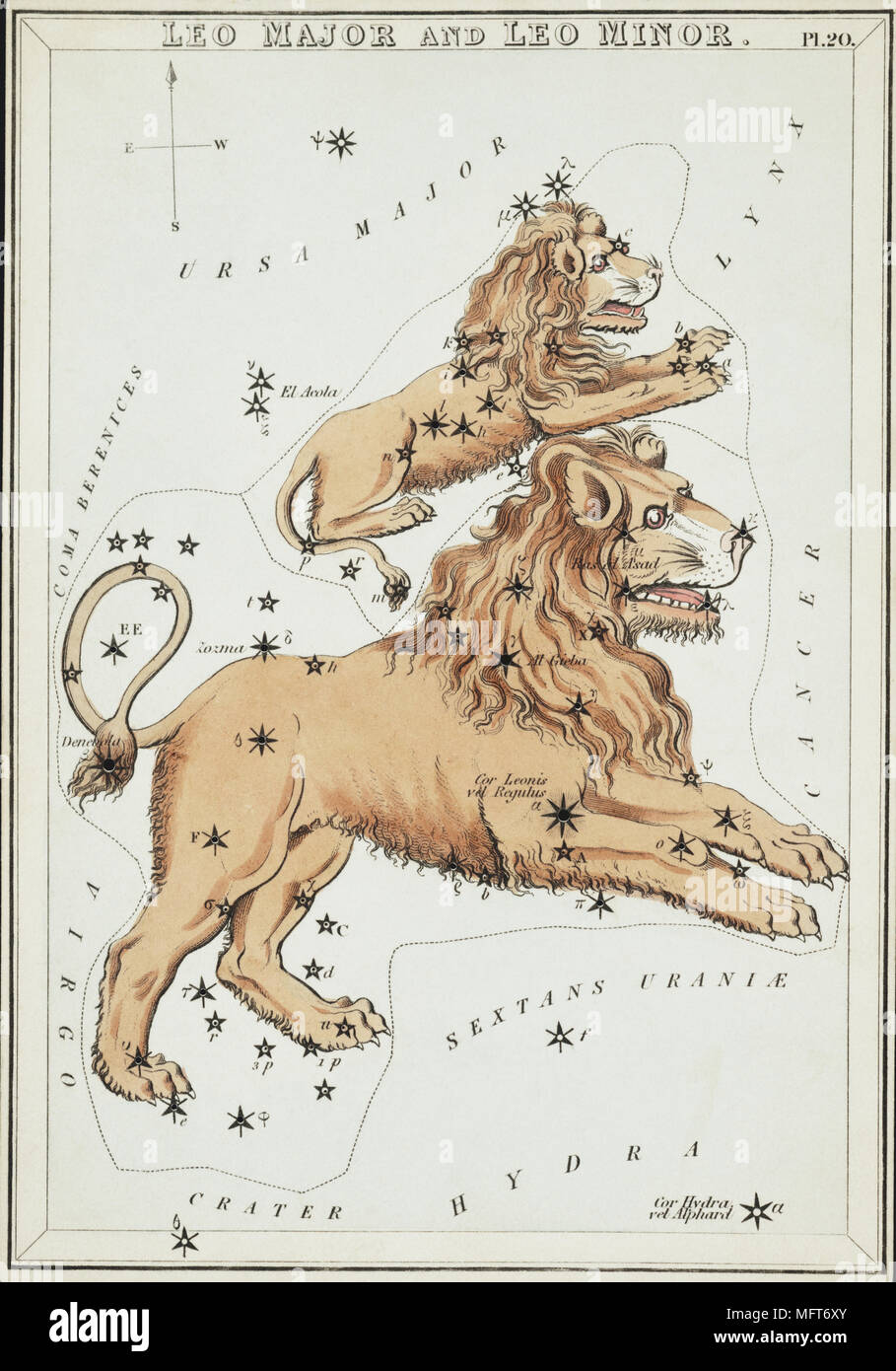 Leo Major and Leo Minor. Card Number 20 from Urania's Mirror, or A View of the Heavens, one of a set of 32 astronomical star chart cards engraved by Sidney Hall and publshed 1824. - Stock Image