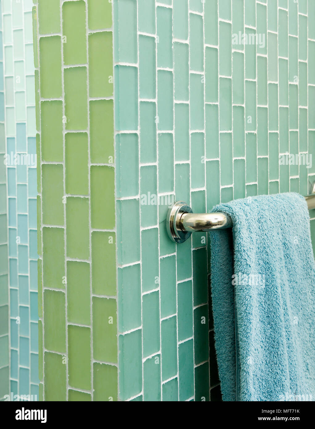 Bathroom Blue Tiles On Wall Stock Photos & Bathroom Blue Tiles On ...