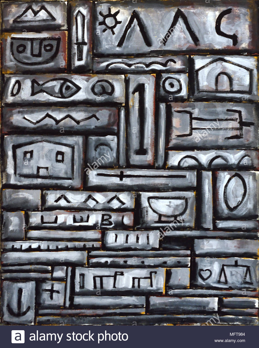 Structure in Grey 1958 Joaquin Torres Garcia 1874-1949, Portugal, Portuguese, - Stock Image