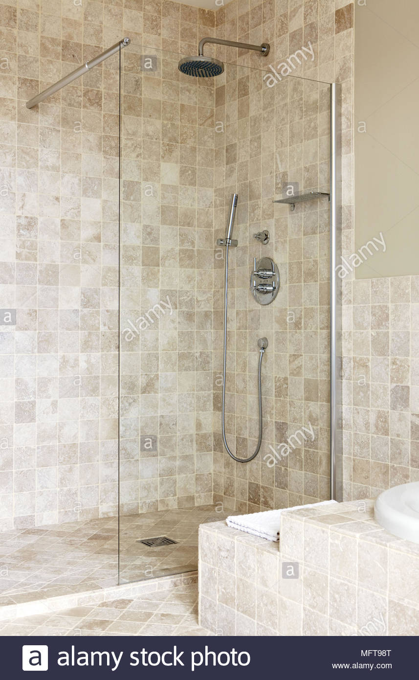 Shower Cubicle In Tiled Bathroom Vertical Image Stock Photos ...