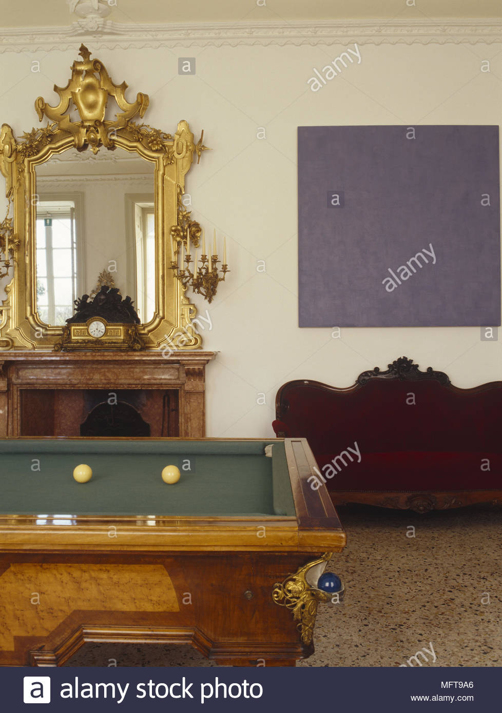 Peachy Snooker Table In Front Of Gilt Mirror Over Fireplace Stock Download Free Architecture Designs Viewormadebymaigaardcom