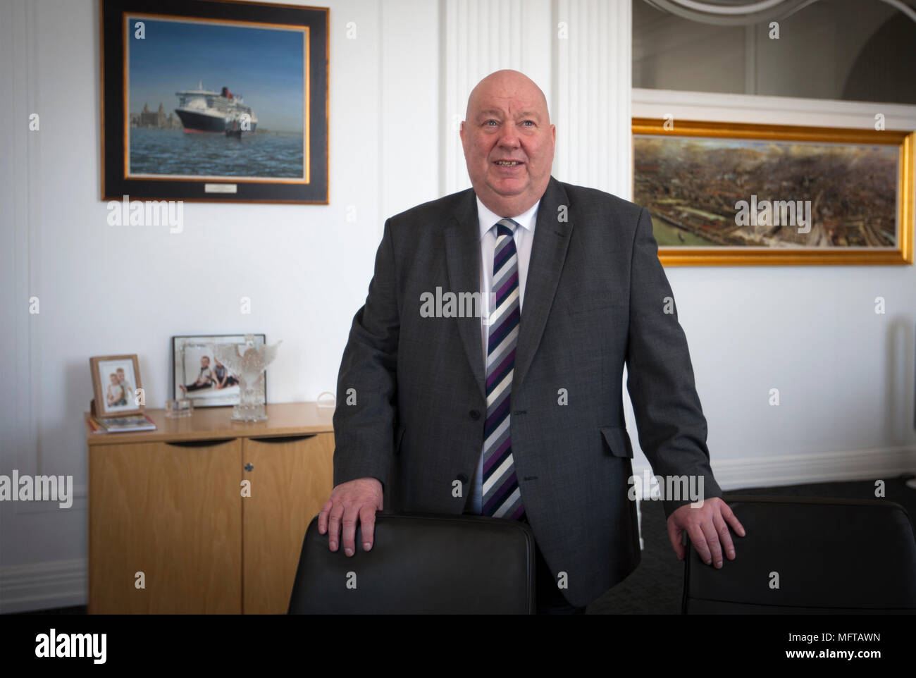 The Mayor of Liverpool, Cllr Joe Anderson, pictured in the mayor's Office within the Cunard Building in Liverpool. - Stock Image
