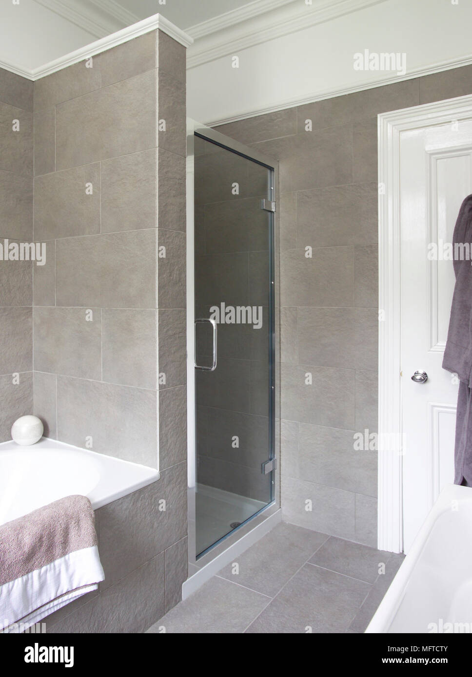 Built in shower cubicle in modern bathroom Stock Photo: 181860475 ...