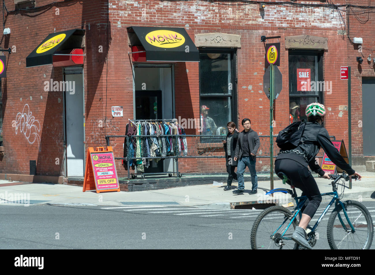 Vintage clothing store in the Greenpoint neighborhood of Brooklyn on Sunday, April 22, 2018.   Zoning changes in 2005 promoted residential development in areas previously designated industrial.(© Richard B. Levine) - Stock Image