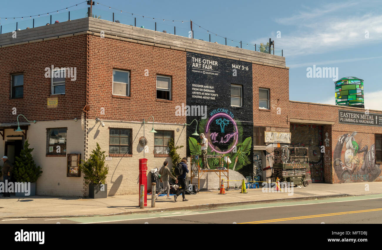 Activities in the Greenpoint neighborhood of Brooklyn on Sunday, April 22, 2018.   Zoning changes in 2005 promoted residential development in areas previously designated industrial.(© Richard B. Levine) - Stock Image