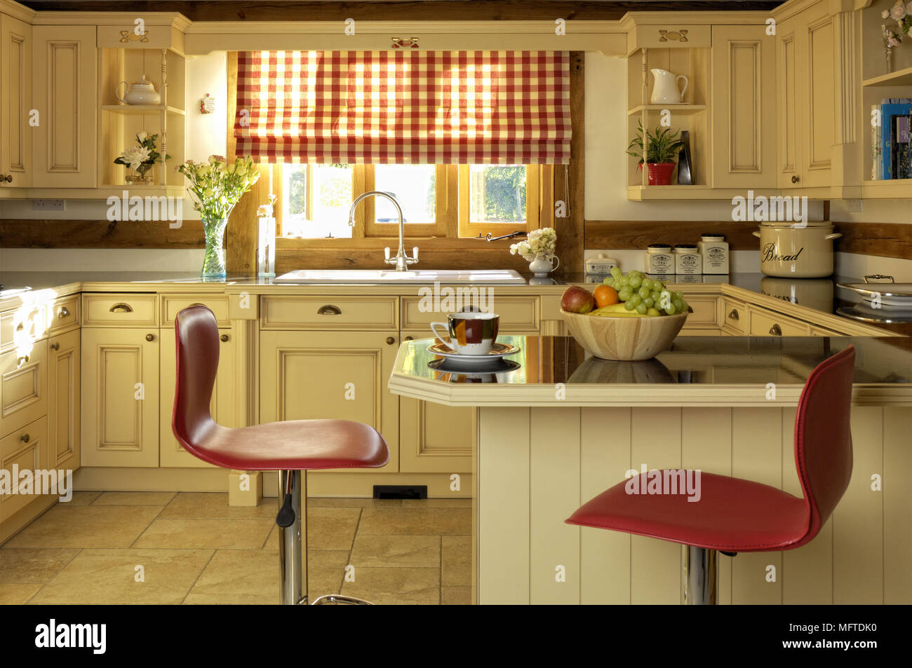 Amazing Bar Stool At Breakfast Bar In Country Style Kitchen Stock Machost Co Dining Chair Design Ideas Machostcouk