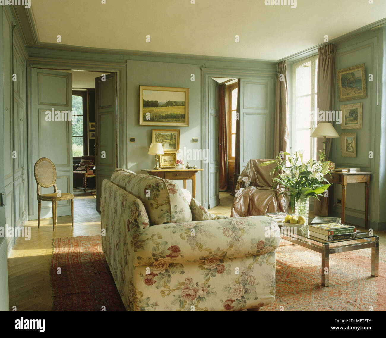 Traditional Sitting Room Pale Blue Green Walls Floral Sofa