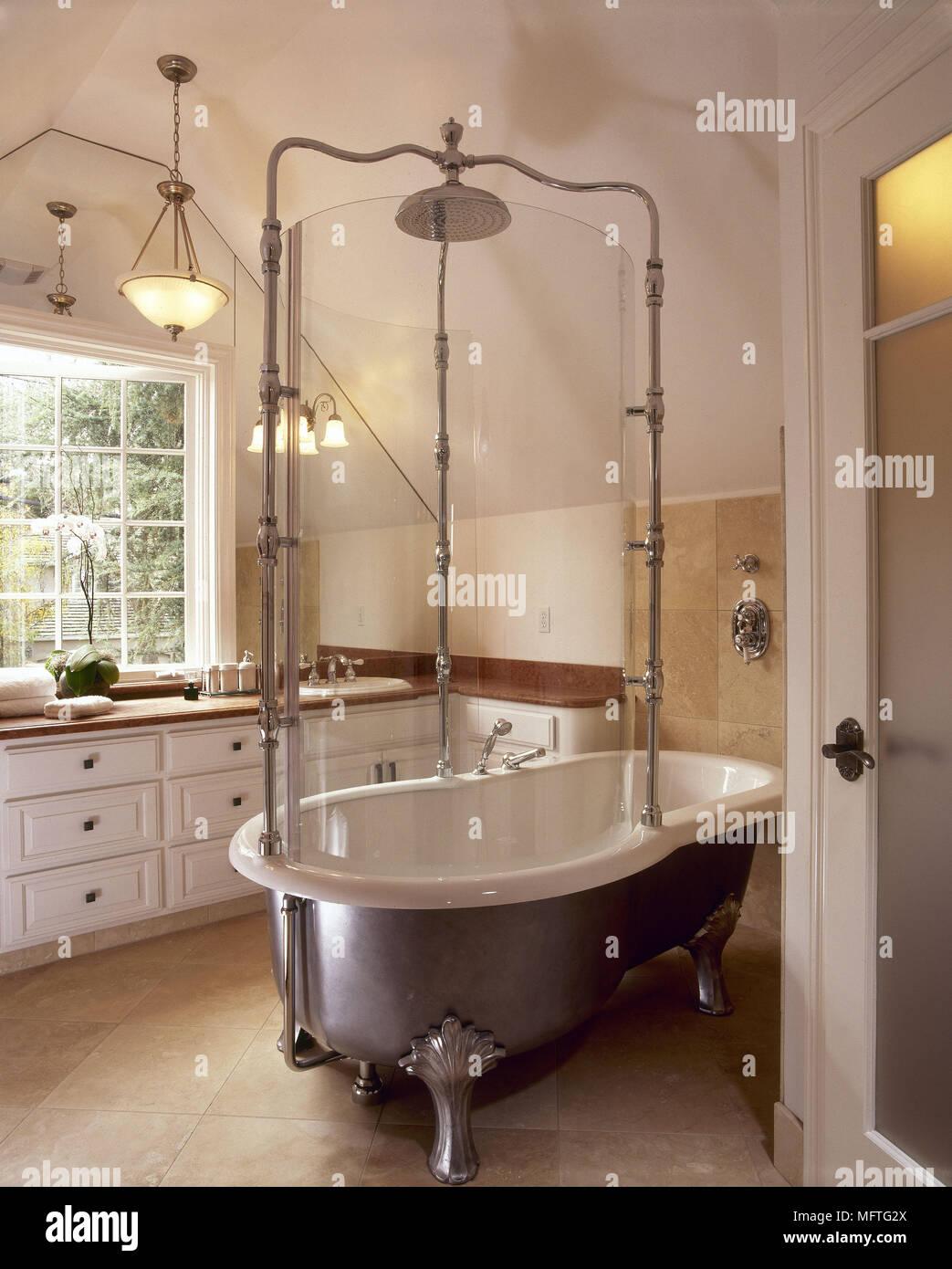 Bathroom With Edwardian Style Free Standing Roll Top Bath Usa Stock Photo Alamy