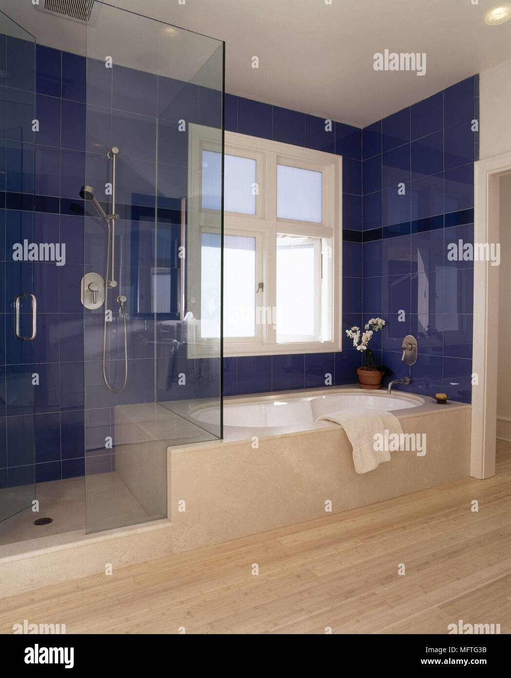 Blue bathroom with glass shower cubicle and marble surround bath USA ...