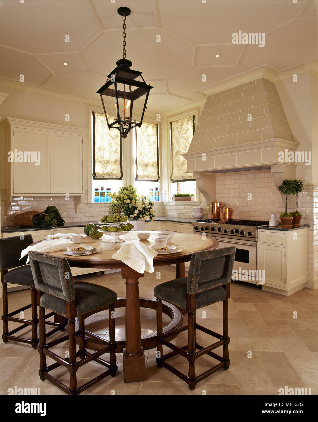Country Kitchen Dining Area Cream Units Round Table Chairs Stone Fireplace Recess Interiors Kitchens Rooms Diner Diners Period Features