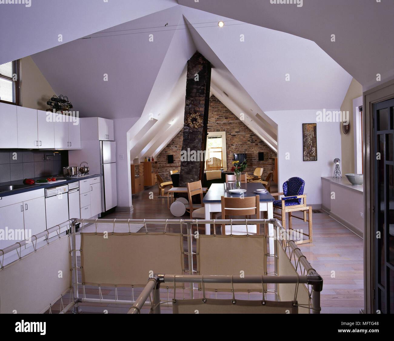 White Open Plan Kitchen Diner Living Room: Loft Conversions Modern Open Plan Kitchen White Units