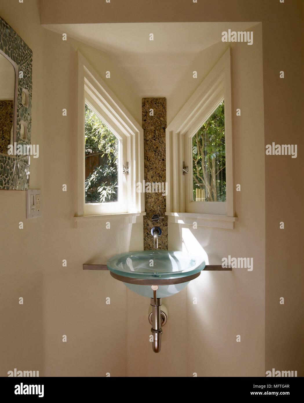 Image of: Modern Bathroom Detail Glass Wash Basin Set In Corner Angled Windows Interiors Bathrooms Sinks Space Saving Stock Photo Alamy