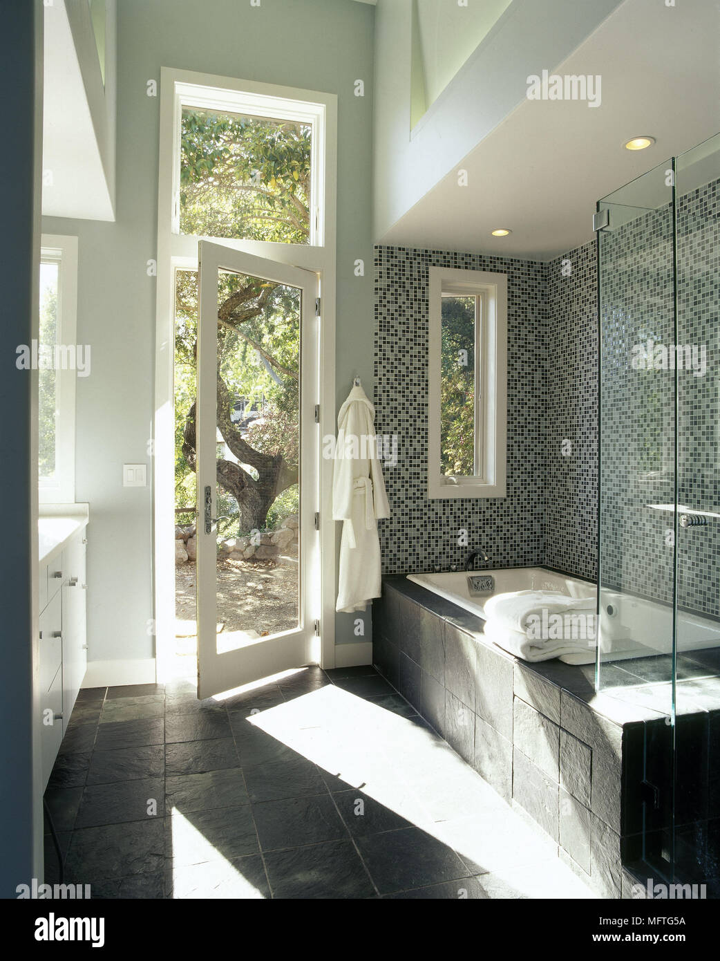 Modern Bathroom Grey Slate Tile Bath Glass Shower Screen Open Door  Interiors Bathrooms Baths Tiling Light
