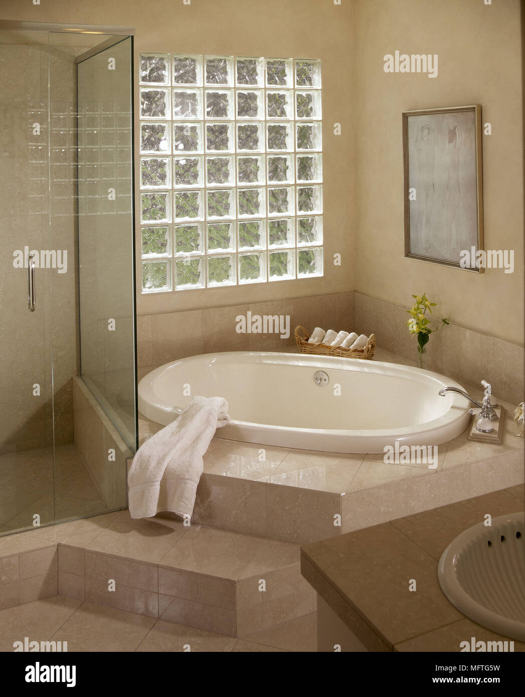 Modern bathroom sunken bath glass brick window shower glass screen ...