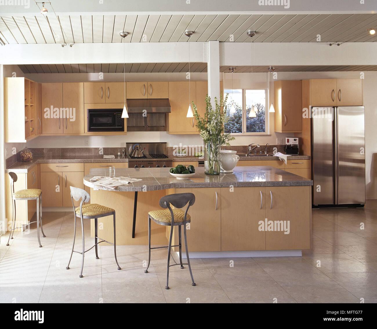 Modern kitchen central island unit wood units granite worktops ...