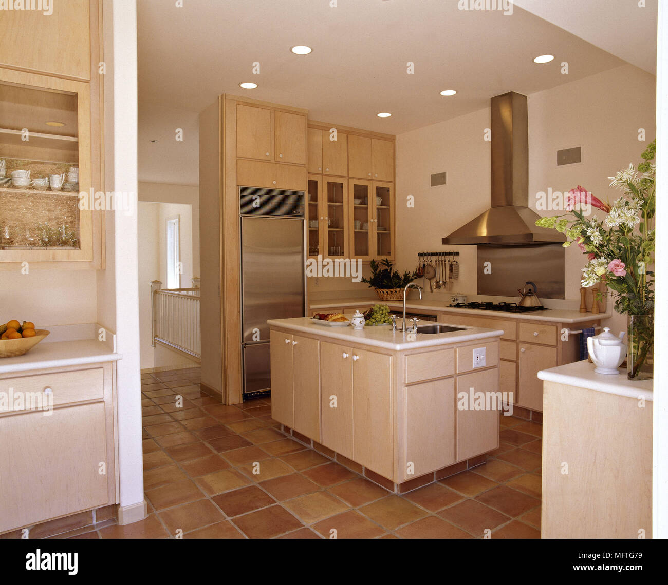 Modern Kitchen Central Island Unit Wood Units Tiled Floor Interiors