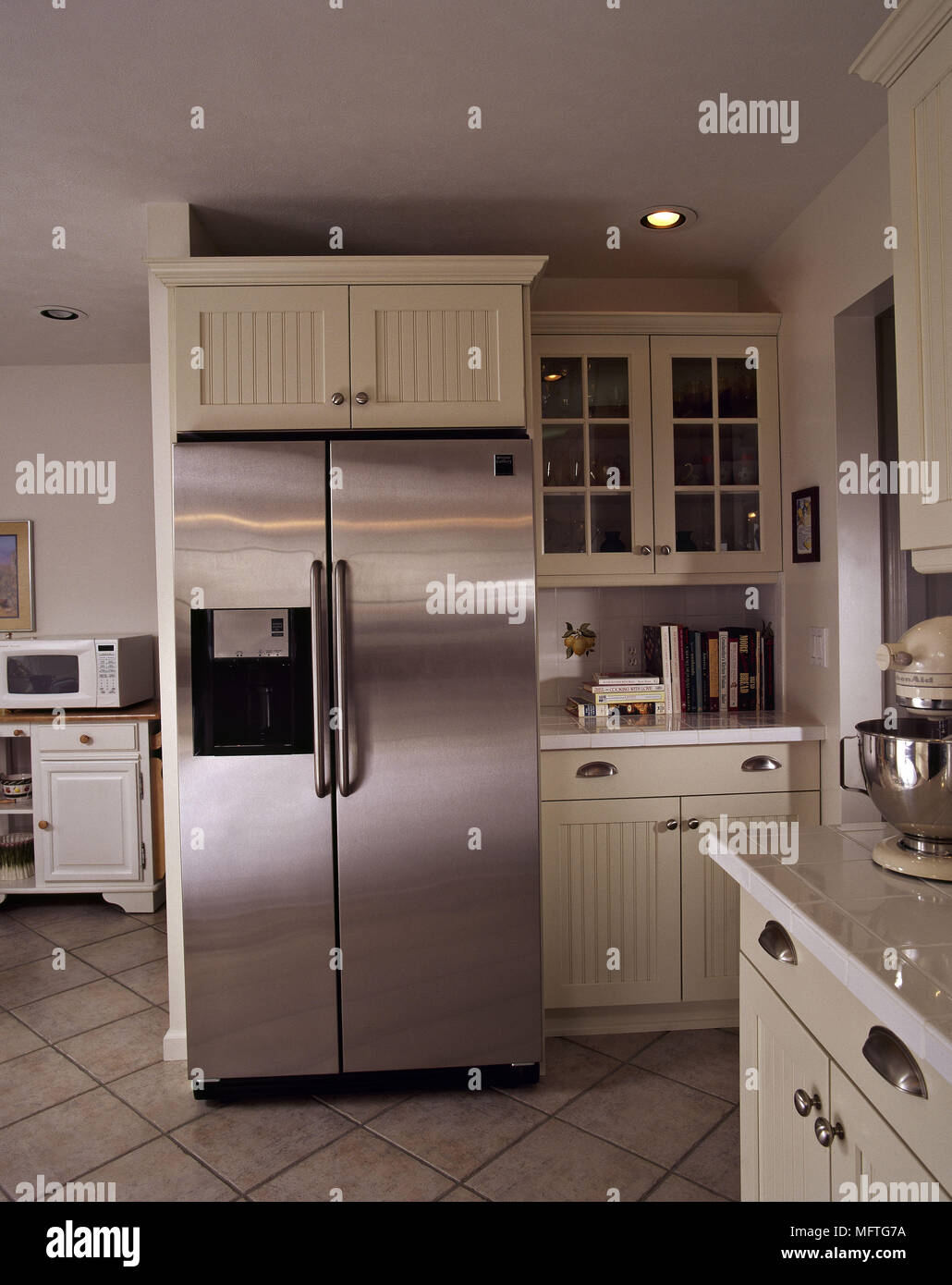 Modern kitchen cream units stainless steel fridge interiors kitchens ...
