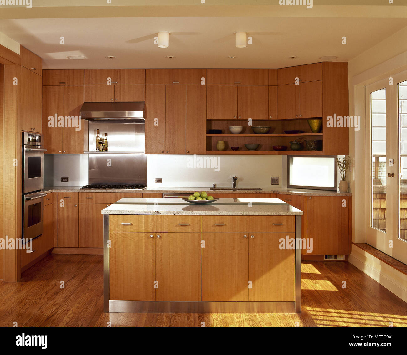 Modern Minimalist Kitchen Central Island Unit Wood Units