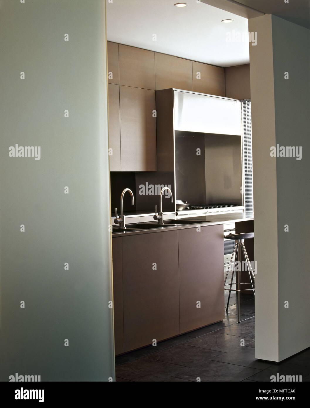 Modern minimalist kitchen detail  interiors kitchens muted colours - Stock Image