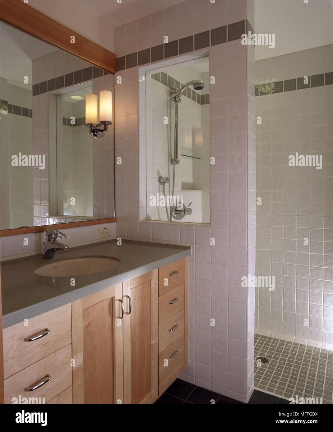 Modern pink bathroom washbasin set in cupboard unit walk in shower interiors bathrooms showers sinks tiling built in cupboards storage & Modern pink bathroom washbasin set in cupboard unit walk in shower ...