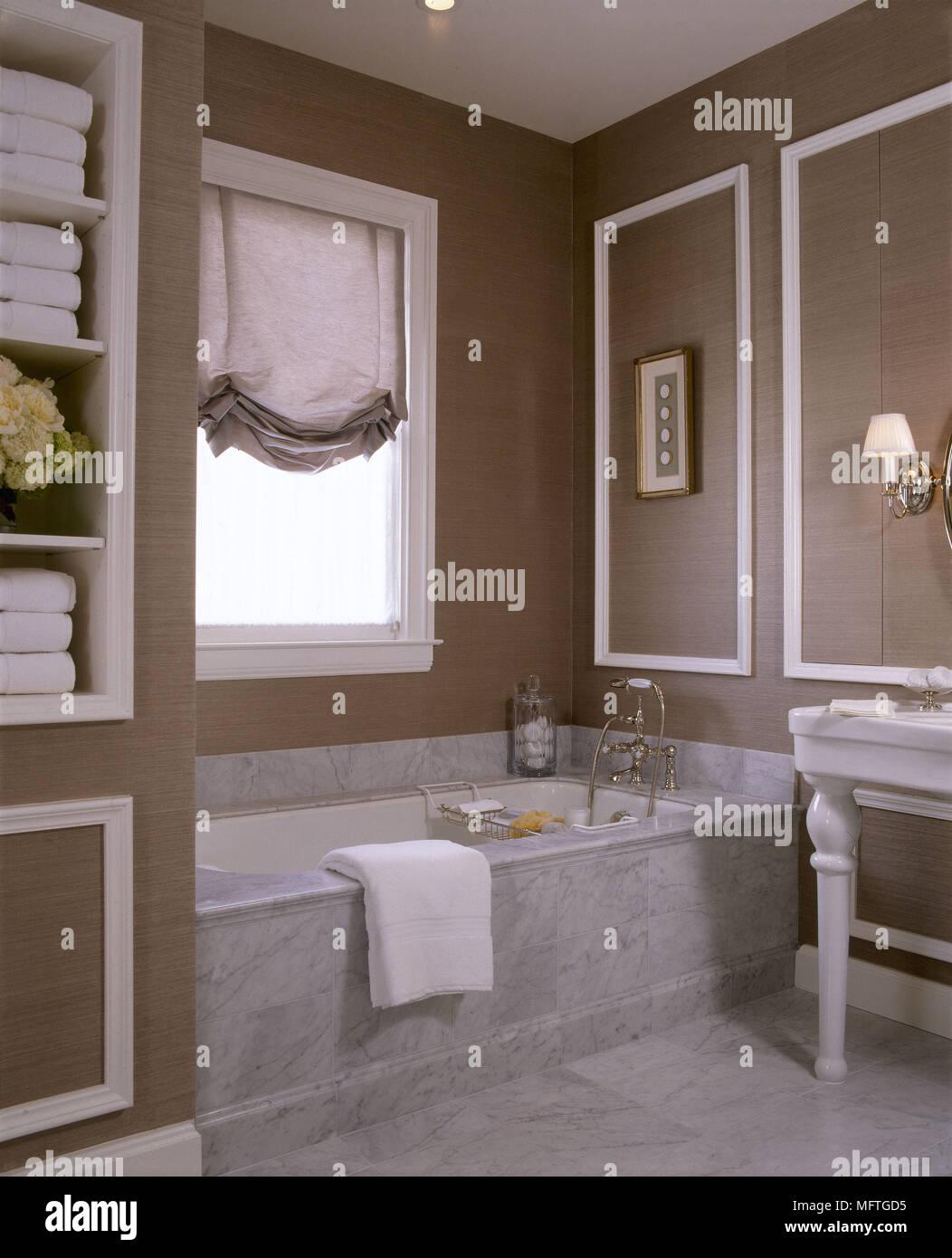 Traditional Marble Bathrooms Intended Traditional Brown Bathroom Marble Bath Floor Austrian Blind Panelled Walls Interiors Bathrooms Baths