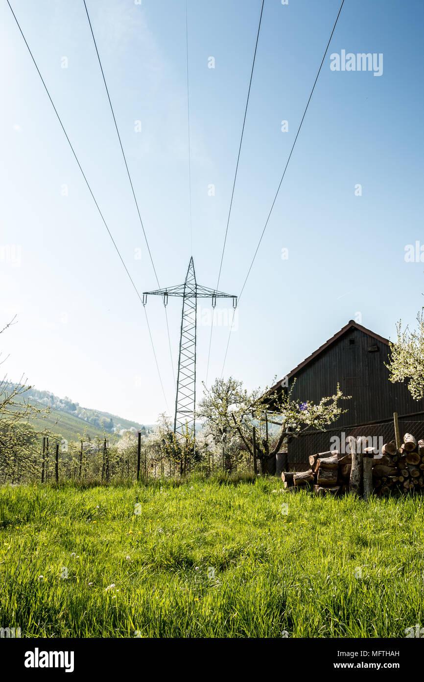 Power pylon on the green field Stock Photo
